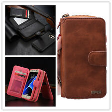 PU Leather Removable Flip Zipper Wallet Purse Card Cover Case For iPhone Samsung