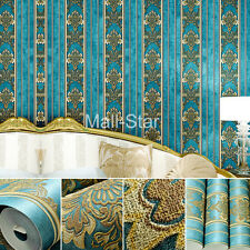 10M Luxury  wallpaper Retro Blue Wall pattern Classical  Luxurious Non woven NEW