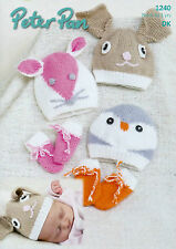 Cute Baby Animal Hats & Mitts DK Knitting Pattern - Bunny Mouse & Penguin P 1240