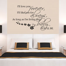 Love Forever Always Family Quote Wall Stickers Art Room Removable Decals DIY