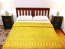 Handcrafted Rajasthani Quilt: primrose yellow and gold screen print