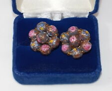 Vintage Pink Blue Murano Glass Wedding Cake Cluster Silver Tone Earrings 4a 19