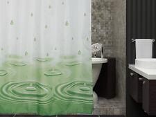 Textil Duschvorhang 240 x 200cm Grün Weiss Wassertropfen Tropfen inkl.Ringe