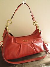 Authentic COACH Ashley Coral Leather Satchel Hobo Bag Convertible Handbag F19761