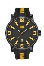 Mens Caterpillar Bold CAT NJ16121137 Black Rubber Yellow Accent Sport Watch Date
