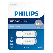 2X 32GB Philips Snow Series USB 2.0 Flash Drive Memory Stick VALUE 2 PACK 32GB