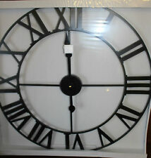 60cm Huge Large Iron Metal Wall Clock Roman Numeral Black Steel 60 cm