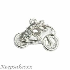 Sterling Silver MOTORBIKE TT & Rider Motor Cycle Bike NEW UK 3D Charm Charms