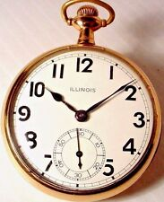 ANTIQUE 1924 ILLINOIS 17 JEWELS WINDING 16'S POCKET WATCH GOLD FILLED ENGRAVED