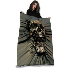 SKULL RIP-THRU Fleece Blanket / Throw 147cm x 147cm by DAVID PENFOUND