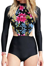 New Red Flowery Print Long Sleeve Surfing One Piece Swimsuit Sporty Rash guard L