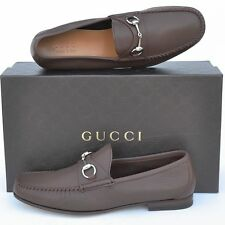 GUCCI New sz UK 10.5 - US 11.5 Horsebit Mens Leather Dress Loafers Shoes Brown