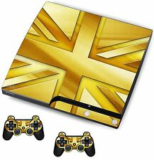 Gold Union Jack Sticker/Skin PS3 Playstation 3 Console/Remote controllers,psk11