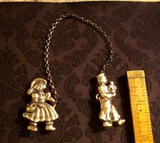 Vintage Sterling Silver Dutch Boy And Girl With Chain Sweater Pin EXCELLENT!