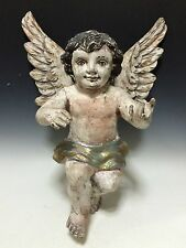 LARGE LOVELY CARVED WOOD HANGING ANGEL