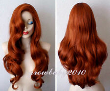 New Jessica Rabbit long wavy Copper Red cosplay wig+ free  gloves
