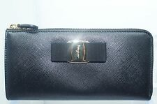 Salvatore Ferragamo Women's Black Wallet Vara Bow Icona Continental Bag NWT