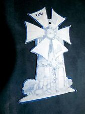 C.1890-1908 Victorian Bridge Tally Blue Windmill Shaped Card