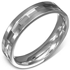 GIFT FOR MEN Size 10 T Silver Tone Steel Step Edge Comfort Fit Wedding Band Ring