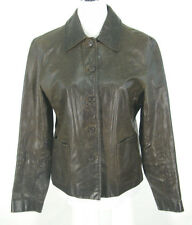 J Crew Leather Jacket Sz M Womens Brown Crinkled Button Front Lined