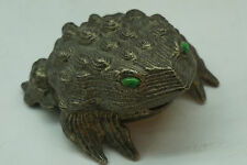 VINTAGE ALARM CLOCK FROG TOAD FLIP TOP LINDEN GRESCO WIND UP RHINESTONE EYES