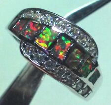 US SELLER~ INLAY ORANGE FIRE OPAL AND CZ SILVER RING SIZE 7