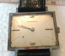 Vintage Juvenia Stainless Rectangular Winding Up Men's Watch 17 Jewels Working