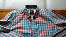 Strellson Mens casual shirt LARGE new green and orange check swiss designed