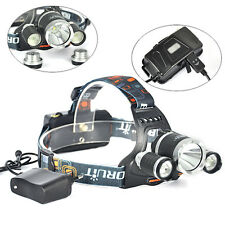 8000lm Boruit RJ-5000 Camping XM-L T6+2R2 3xLED Headlight Headlight +AC Charger