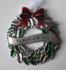 b To Mom with Love CHRISTMAS HOLLY WREATH ORNAMENT ganz car charm holiday
