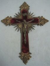 Antique  Cross with Christ in bronze and Red velvet religious
