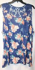 NEW WOMENS PLUS SIZE 3X BLUE ROSY FLORAL TANK TOP W BLUE CROCHET POCKET & BACK