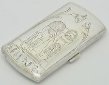 RARE EGYPTIAN SOLID SILVER 800 CIGARETTE CASE 2 FIGURES & HIEROGLYPHICS ENGRAVED