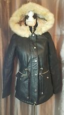 Lipsy  Women's Black  Faux  Hooded Pu Jacket  Size  uk  8 rrr £88