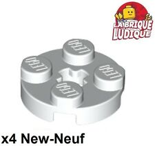 Lego - 4x Plate Round plaque ronde axle hole 2x2 blanc/white 4032 NEUF