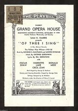 "George Gershwin ""OF THEE I SING"" Oscar Shaw / Pulitzer Prize 1932 Chicago Ticket"