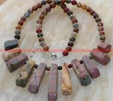 NATURAL MULTICOLOR PICASSO JASPER 11 PENDANT NECKLACE 18''