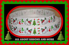 1 INCH HELLO KITTY HO HO HO  CHRISTMAS GROSGRAIN RIBBON - 1 YARD