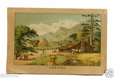 Victorian Trade Card HAINES UPRIGHT PIANO America farm haystacks  mountains