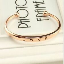 Fashion Women Gold/Silver Plated LOVE Bracelet Jewelry Charm Cuff Bangle Gift
