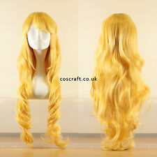 80cm long wavy curly cosplay wig in primrose yellow, UK seller, Jeri style