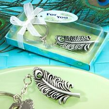 Peacock Feather Keychain Favor Wedding Bridal Shower Gift Metal Key Chain Party