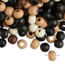 8036NB Boxwood Wood Beads Bead Mix Brown Black Tan 7mm Rondelle Round 100 Qty
