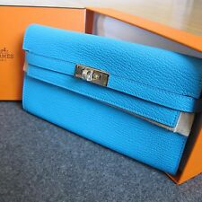 Authentic NIB Hermes long Kelly wallet Chevre GHW aztec blue clutch