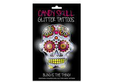 6 Packs Of Temporary Tattoos - Candy Skull Glitter (Mexican) Theme - Wholesale