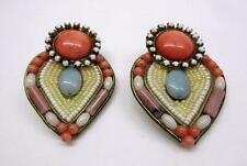 VINTAGE HANSEN SIGNED EXQUISITE MULTICOLORED BEADED COUTRE CLIP EARRINGS
