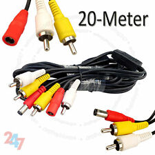 20M CCTV Security Camera AV Video RCA DVR DC Power Phono Extension Cable D107