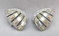 BOUCHER SIGNED & NUMBERED VINTAGE RHODIUM PLATE & RHINESTONE CLIP ON EARRINGS **