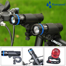 2x Cree Q5 LED Mountain Bike Bicycle Cycles Zoomable Front Lights + LED Rear Set