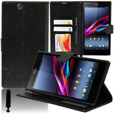 ETUI COQUE HOUSSE CUIR PORTEFEUILLE SUPPORT VIDEO NOIR STY SONY XPERIA Z ULTRA